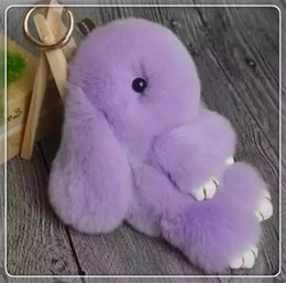 Wholesale rabbit Furs Keychain Pendant Bag Car Charm Tag Cute Mini Rabbit Toy Doll Real Fur Monster Keychains
