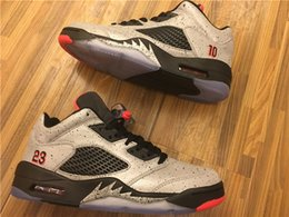 with box 5 low Neymar space 3m reflective effect Cement grey men basketball shoes 5s mens sneakers size 8-12