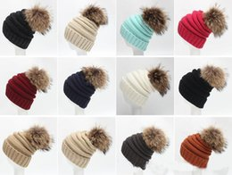 Wholesale Fashion Roon fu r ball cap pom poms winter hat for women girl s bnie ha t knted beaies c ap brand new thick fale cap