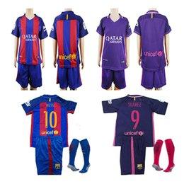 Wholesale 16 Kids boys kits socks Barcelona jerseys home red Away purple Messi Suarez soccer jerseys youth best gift football shirt