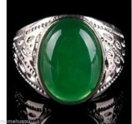 2016 hot buy The pearl jade silver bracelet ring earring necklace>>>>>beautiful tibet green jade men's ring size 10#