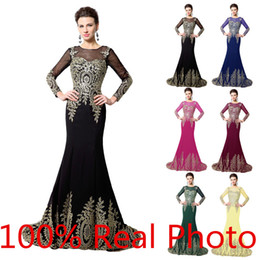 2019 Real Photo Gold Embroidery Mermaid Long Sleeve Evening Dresses Dubai Arabic Kaftan Crew Lace-up Occasion Prom Pageant Cheap Gown