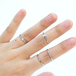 Fashion small moon suit rings, Four small rings and a moon ring wholesale 10 sets lot free shipping