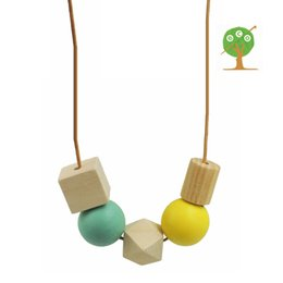 Chic modern square cube tube necklace with Geometric Beaded wood necklace yellow white minimalist NW087