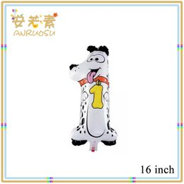 Wholesale Yiwu Toys inch Cute Dog shaped Number Balloons With Aluminium Coating in White