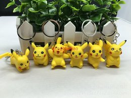Wholesale Hot Sale Set Yellow pikachu PVC Keychain Action Figure KeyChain Ring Keyring Fashion Accessories