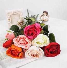 "Silk Rose 40cm 15.75"" Length Artificial Flowers Roses Camellia A Flower Head and a Bud for DIY Bridal Bouquet Wedding Centerpieces"
