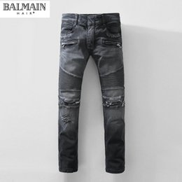 Wholesale Balmain High Quality Famous Brand Black Grey Denim Jeans Ragged Destroy Washed Biker Moto Cross Jeans Pants For Men