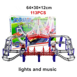 Wholesale 113PCS Triple loop Interchangeable tracks Rail Car Set DIY Baby Toy Model Electronic rope bridge with Lights and Music Multilayer Kids Toys