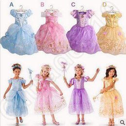 Wholesale 4 Designs Kids Party Dress Baby Belle Princess Dress Sleeping Beauty Belle Princess Dress Cosplay Dresses Christmas Dress CCA5178