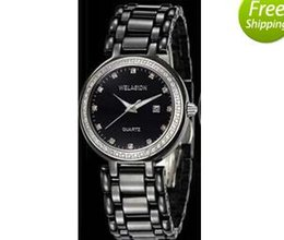 Luxury brand WELASIDN Christmas gift WOMEN dress watch quartz movement luxury AAA quality ceramic diamond bezel lady wristwatch