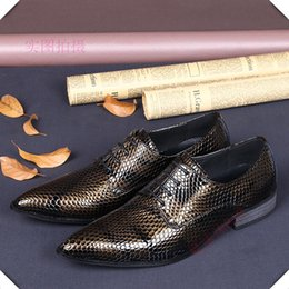 Luxury men's brand business shoes bronze snake leather Oxford dress shoes lace shoes United Kingdom style classic wedding shoes for men