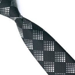 Black And White Woven Slim Tie Plaid Men's Skinny Ties Silk Pattern Fashion Neckties Designer For Choose E-043