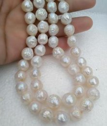 Noble double strands 12-13mm south sea white pearl necklace 18-19inch 14K gold clasp