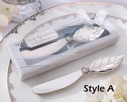 Wedding Favors And Gifts, Metal Bread Cake Butter Knife Fork Chrome Leaf Spreader Valentine's Day gift