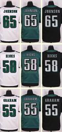Wholesale 2016 New Men s Lane Johnson Jordan Hicks Brandon Graham Black White Green Elite jerseys Top Quality Drop SHipping