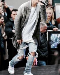 denim jumpsuit designer clothes rockstar justin bieber ankle zipper destroyed skinny ripped jeans for men fear of god