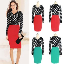 New Arrival European Autumn Women Long Sleeved Dress With Belt Polka Dot Slim Pencil Dress Red and Green