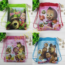 Wholesale High Quality Masha and the bear Backpack bags Non woven student bags School bag Kids party gift Lovely cartoon waterproof beach bag
