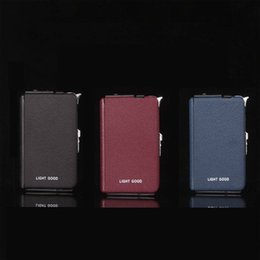 Wholesale Multifunctional automatic shells cigarette case with built in Wind Proof Torch Lighter butane recycled may be filled cigarette case