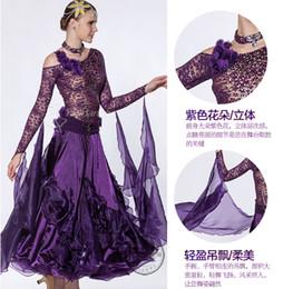 purple Lace ballroom Waltz tango salsa Quick step competition dress one shoulder cutout