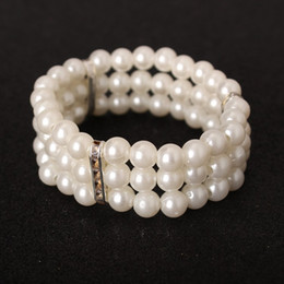 Wholesale Cheap Wholesale Piercing Jewelry - Only 0.99 Cheap Pearls Wedding Bracelet Bridal Party Jewelry Rhinetone Free Size Prom Evening Party Bracelet Bridal Accessories 2016