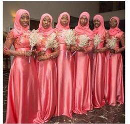 Dubai Abaya Bridesmaid Dresses High Neck Long Sleeve Appliques Long Bridesmaid Dresses Cheap With Hood Customized Arabic Dresses For Wedding