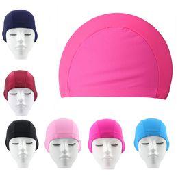 Wholesale 200pcs Stretch fabric color Nylon quality comfort adult Swim Cap Flexible Durable Elasticity Portable Swimming Hat For Men Women