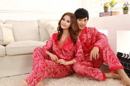 Wholesale Lovers Sleep - Faux silk mens pajama sets men lovers sleepwear male sleep&lounge Chinese red wedding Pijamas for women couple pajamas female pyjamas
