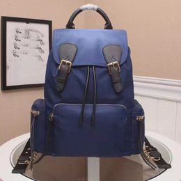 Wholesale leather Backpack Blue latest The Rucksack leather top handle adjustable canvas chain shoulder strap buckle and fight Drawstring Backpack and