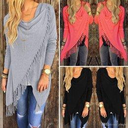 2016 noir cardigan tricoté Women Irregular Tassel Knitted Cardigan Loose Sweater Outwear Jacket Poncho Manteau Noir Blanc Gris Rouge Couleur Livraison gratuite 25962 noir cardigan tricoté offres