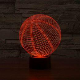 3D Basketball Shape LED Art Sculpture Night Lights Desk Lamp 3D Visualization Home Docoration With USB Line