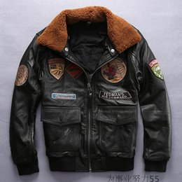 Wholesale Winter flying jackets TEDMAN S AIR COMMAND jackets embroidered Air flight suit fur collar Lapel neck mens thick leather jackets