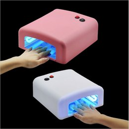 Wholesale Pink white Nail Art uv Lamp Best Quality Portable w UV Light nail Dryer pc FREE Lamps Bulb For Dry