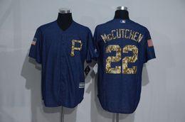 Wholesale New Pittsburgh Pirates Jersey Mens Andrew McCutchen Denim Blue Salute To Service Cool Base Baseball Jerse Stitched Jerseys