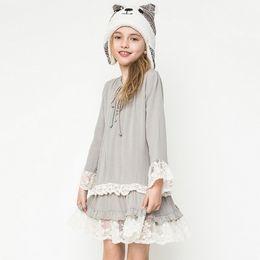 Wholesale Hug Me Big Girls Dress Christmas Kids Clothing Autumn Lace Tutu Dress Fashion Long Sleeve Flower Princess Dress AA