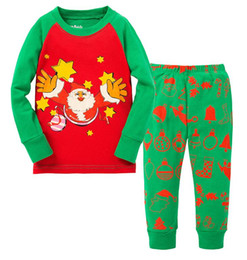 kids christmas sleepwear children clothing boys suits girls cotton deer stripe tops pants pajamas santas little helper sleepwear sets. 6set