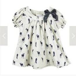 2016 new fashion summer kids girls dress deer fawn patter shirt ribbon bowknot t-shirt dress pure cotton