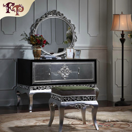 Wholesale Neoclassical furniture Luxury French royalty classic bedroom furniture set cracking paint dressing table and mirror with silver leaf gild
