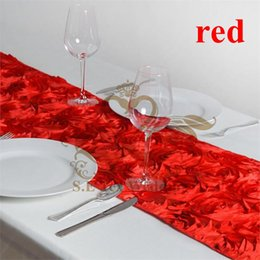 20pcs RED Color New Design Satin Rosette Table Runner For Wedding Decoration