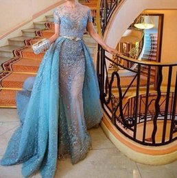 Ice Blue Luxury Beaded Prom Dresses 2016 Short Sleeves See Through Detachable Train Evening Gowns Princess Sweep Train Saudi Arabic Dresses