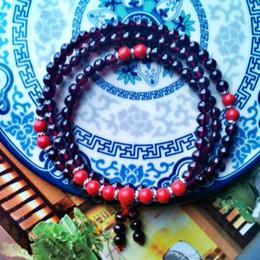 [produced] bell into natural Brazil purple teeth Ukraine rose red garnet stone necklace bracelet beads 108 women