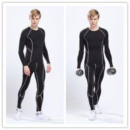 Wholesale Good quality Solid color men long sleeve sports wear set T shirt pants out door wears Tights fitness jersey running jersey gym t shirt
