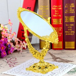 Wholesale Oval double faced desktop mirror vanity beauty mirror vintage plastic painted Gold silver mirrors magnifying