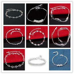 Wholesale Mixed Styles 20PCS LOT 925 Sterling Silver Bracelet For Women Fashion Charms Jewelry Free shipping