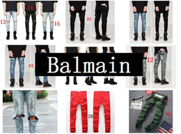 Wholesale High Quality Fashion Designer Men Jeans Casual Pants BLM Famous Brand Skinny Jeans Men Biker Balmain Jeans Fashion Designer