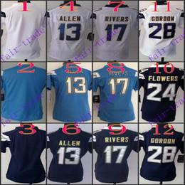 Wholesale Women NIK Game Football Stitched Chargers Allen Rivers Mathews Gordon Navy Light Blue White Dark Blue Jerseys Mix Order