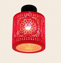 Wholesale LED Ceiling Lamp Beautiful Jingdezhen Porcelain Light Living Room Lighting Fixtures Hotel Ceiling Light Red Ceramic Lamp