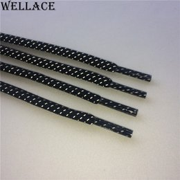 Wholesale Checkered Shoes For Women - (30pairs lot)Wellace 3M reflective safty bootlaces thick colorful shoelaces round glowing black shoe laces shining for kids mens women