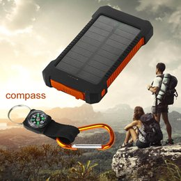 Wholesale Retail and wholesal Waterproof Solar Power Bank mah Dual USB li Polymer Battery Solar Charger with LED Flashlight Compass for all phone